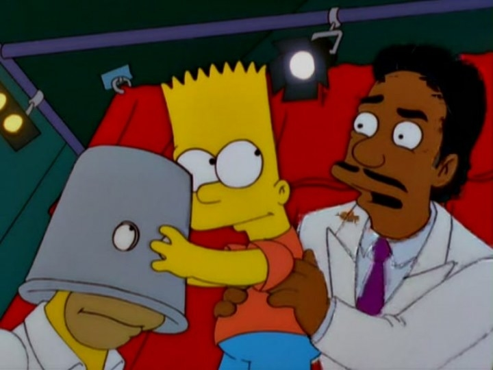 Don Cheadle's character picking up Bart so that he can remove the bucket from Homer's head