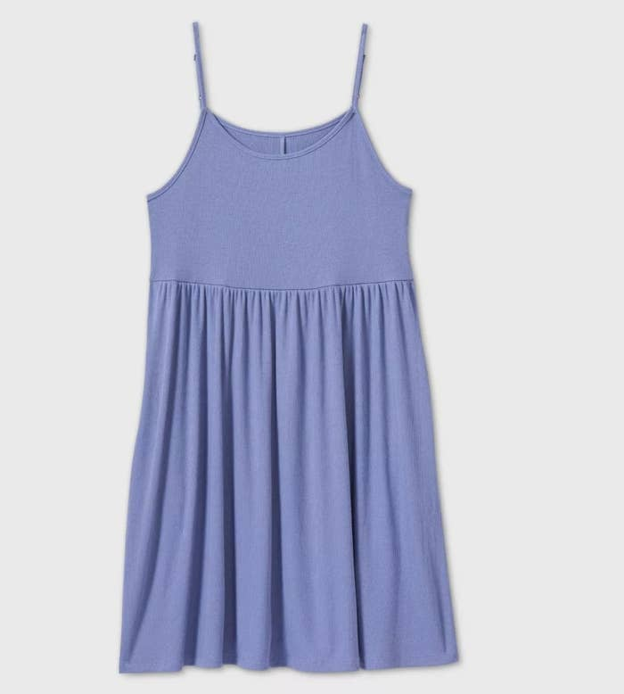 A blue sleeveless dress