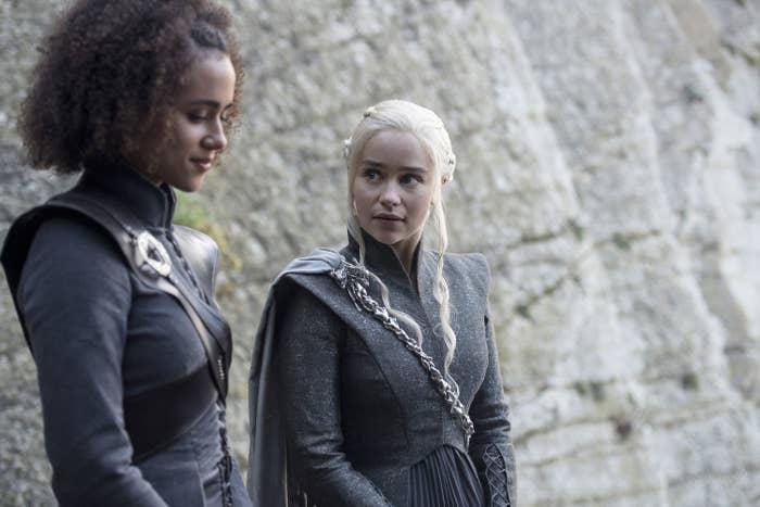 Daenerys Targaryen looks at Missandei