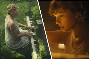 Taylor Swift playing piano in a lush forest, and her looking into her glowing piano