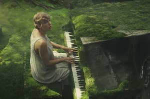 Taylor swift playing piano in the forest