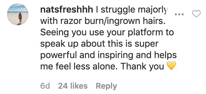 A fan saying she struggles with razor burn