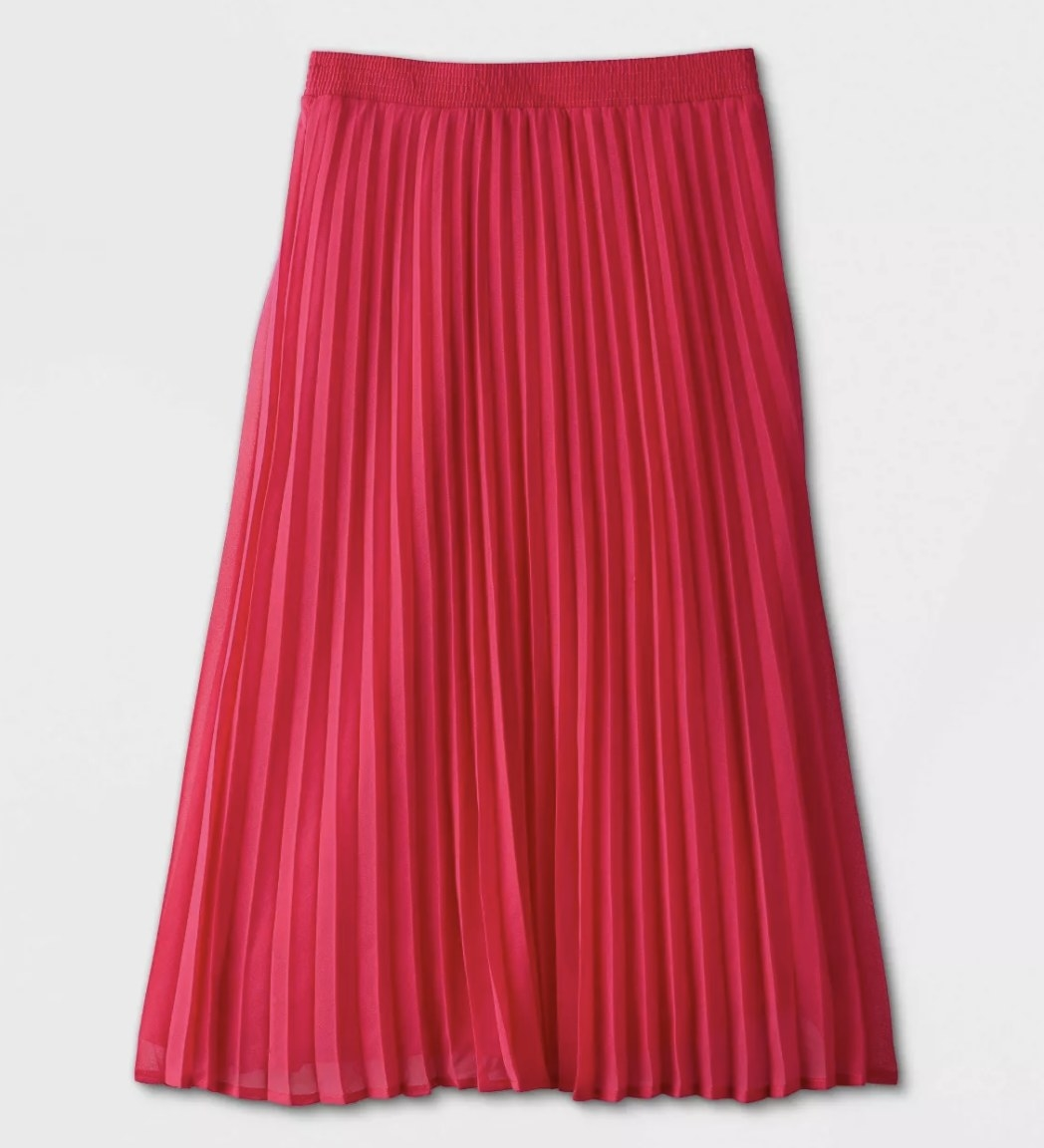 A pink pleated skirt