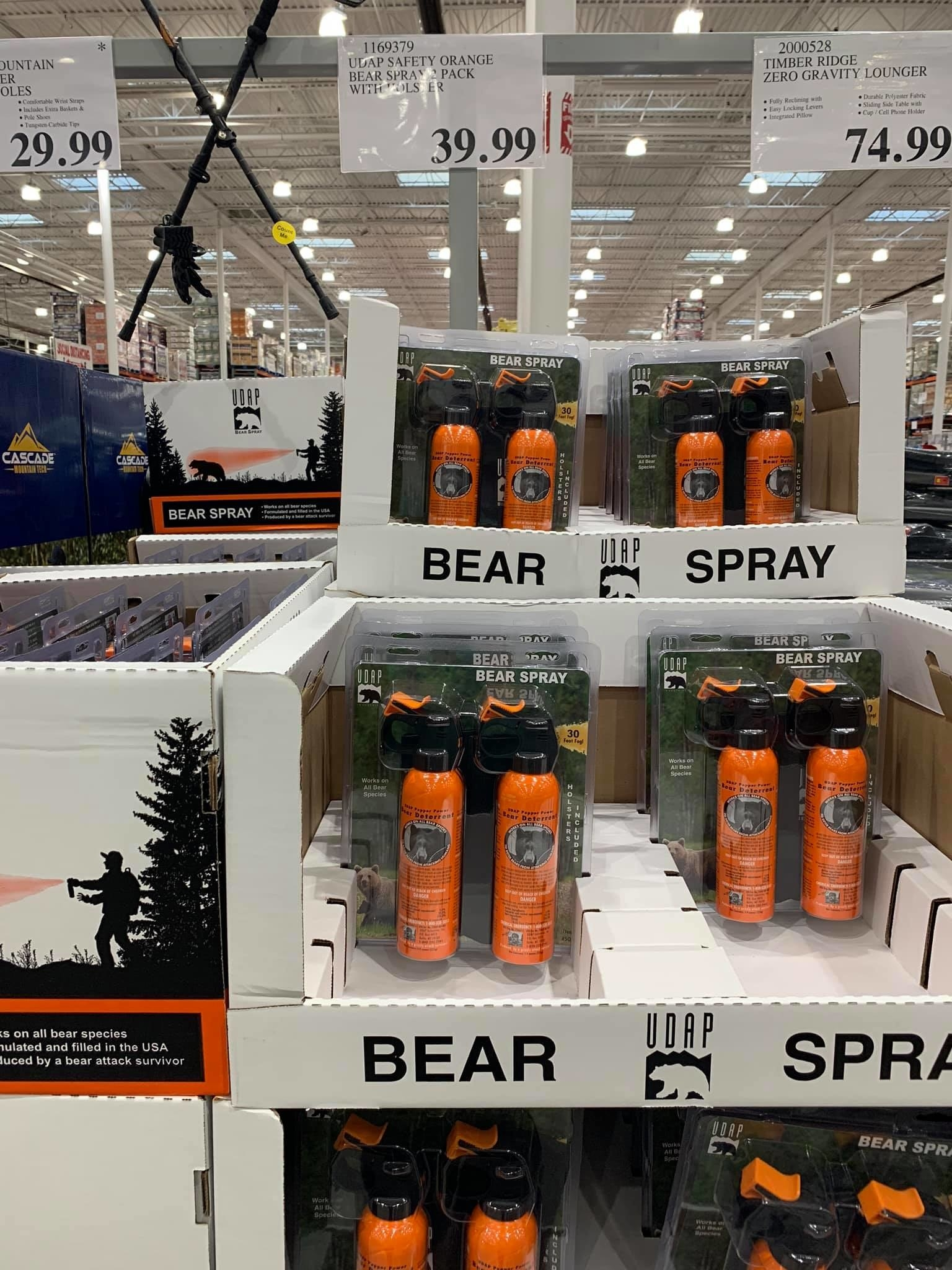 Cans of bear spray at Costco Alaska