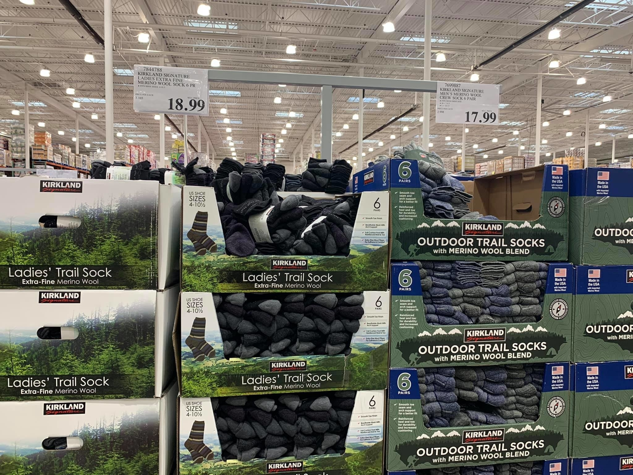 Crates of wool socks at Costco Alaska
