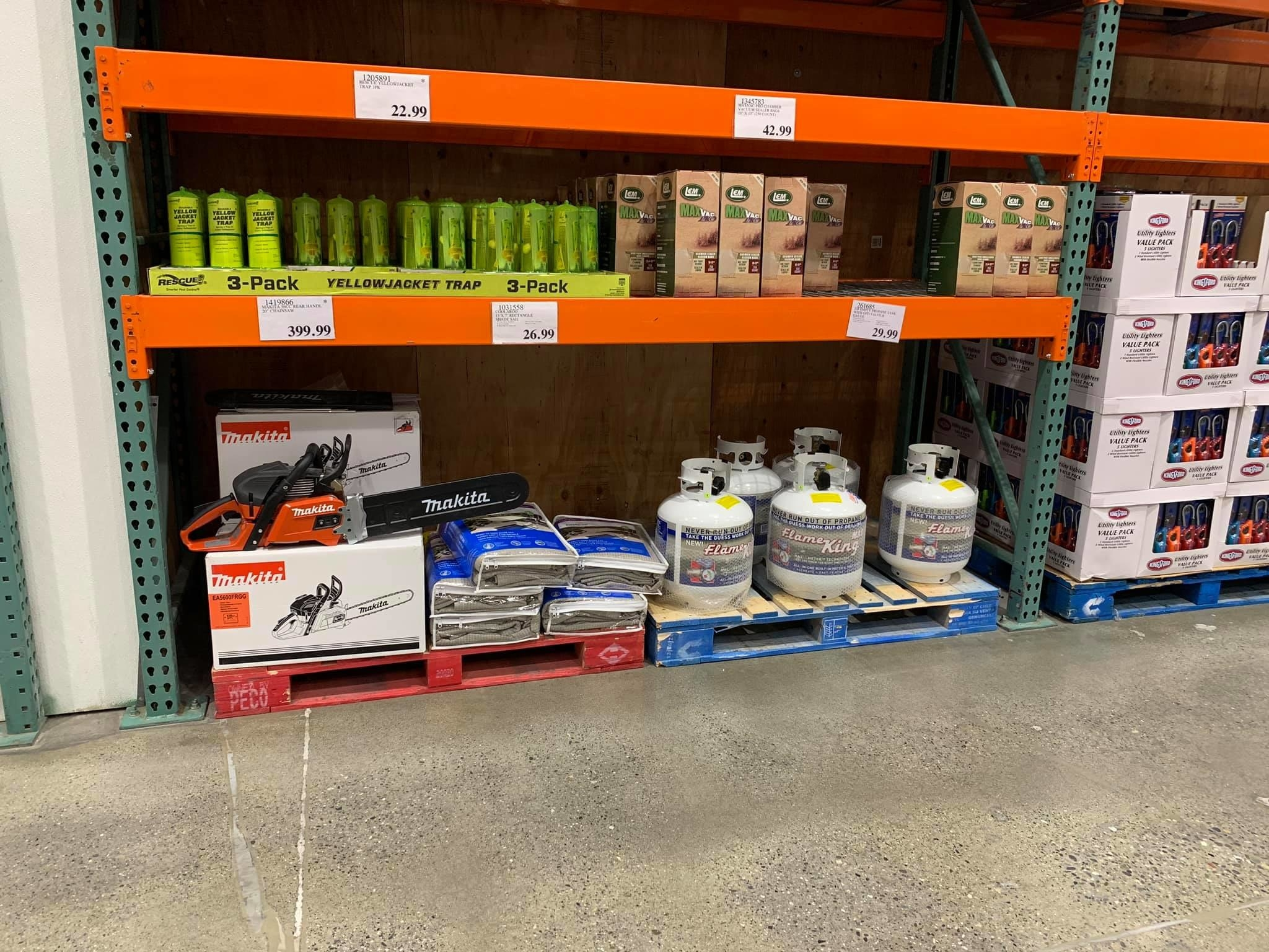 Propane tanks and chainsaws at Costco Alaska
