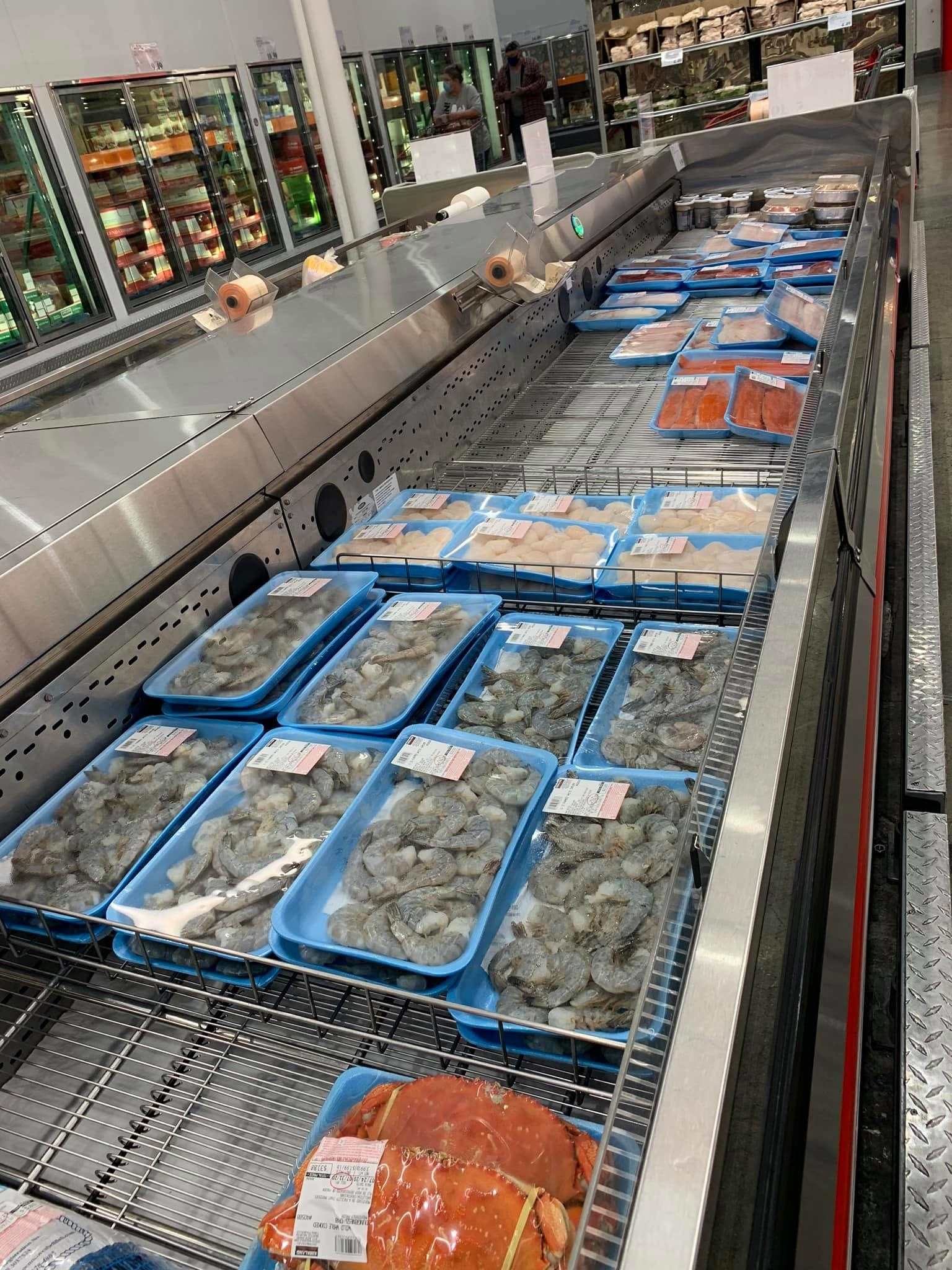 Jumbo shrimp in the seafood section of Costco Alaska