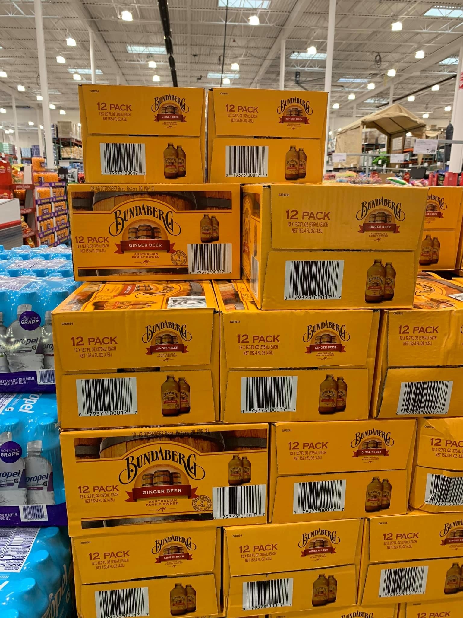 Cases of ginger beer at Costco Alaska