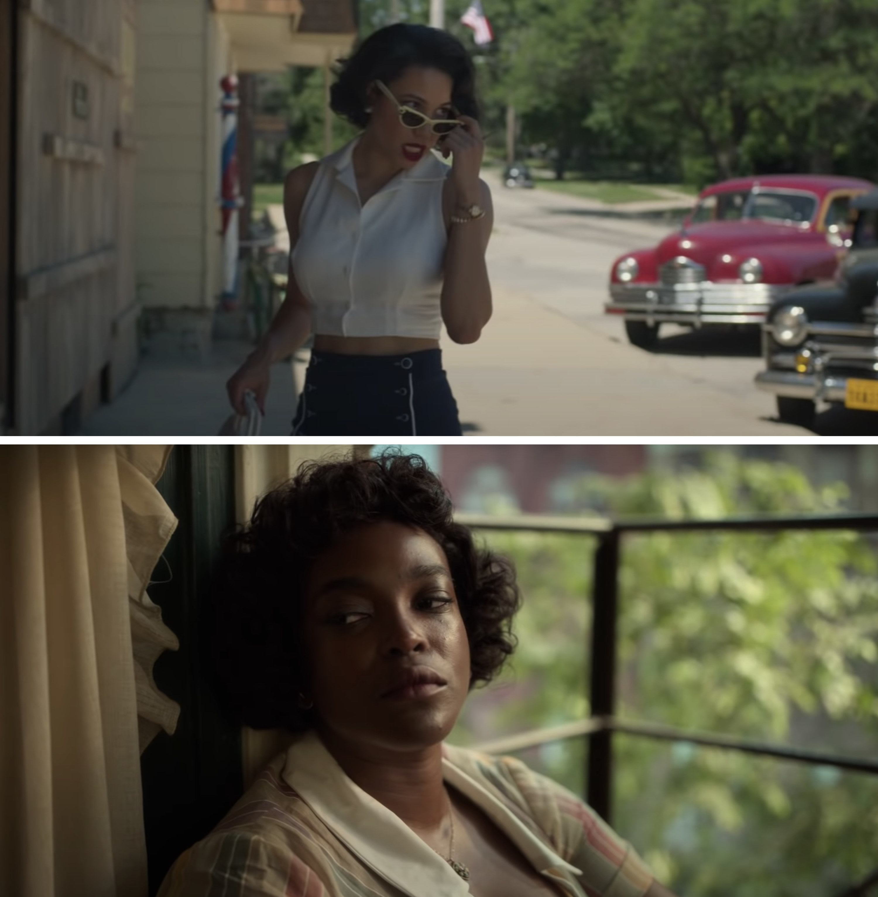 Jurnee Smollett as Leti and Wunmi Mosaku as Ruby in Lovecraft Country