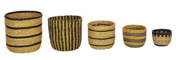 Various baskets with black stripes and designs