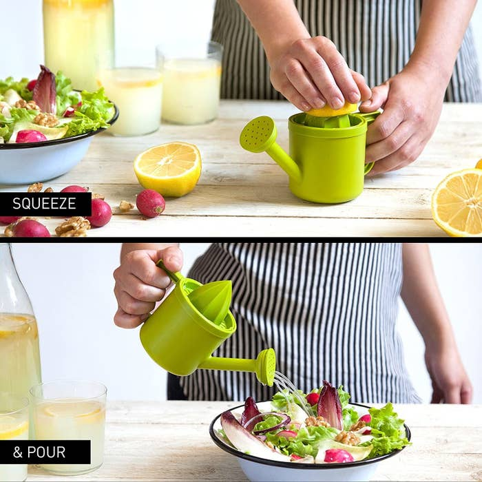 on top, the green water can-shaped juicer with lemon being squeezed and on bottom, lemon juice being added to the salad