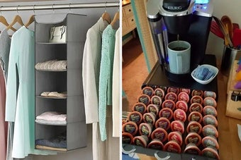 On the left, a five-section hanging organizer, and on the right, a coffee pod drawer