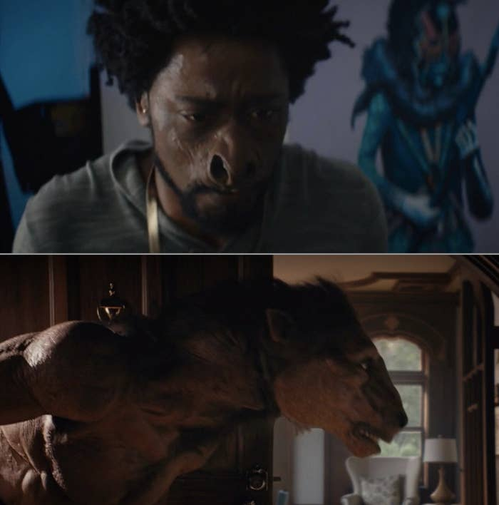 Lakeith Stanfield's character turning into a horse in Sorry to Bother You