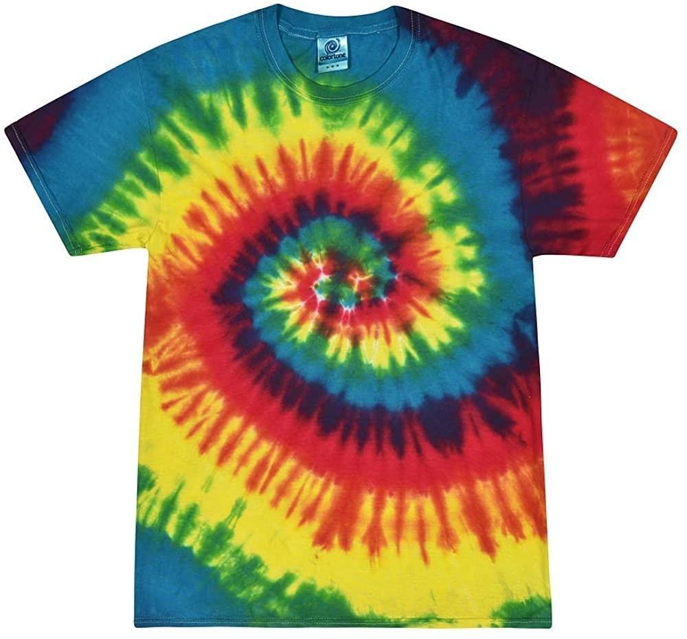 The Colortone Tie Dye T-shirt in Reactive Rainbow.