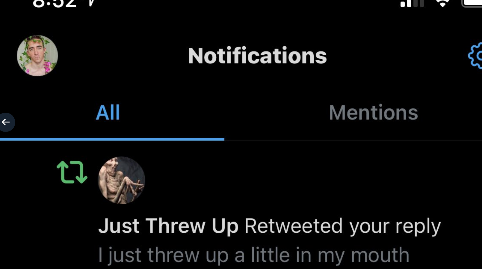 """Just Threw Up"" account retweeting a tweet about throwing up"