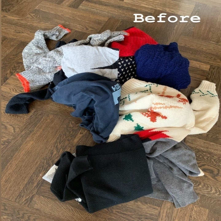 A before photo of a messy pile of BuzzFeed Editor, Maitland Quitmeyer's clothing