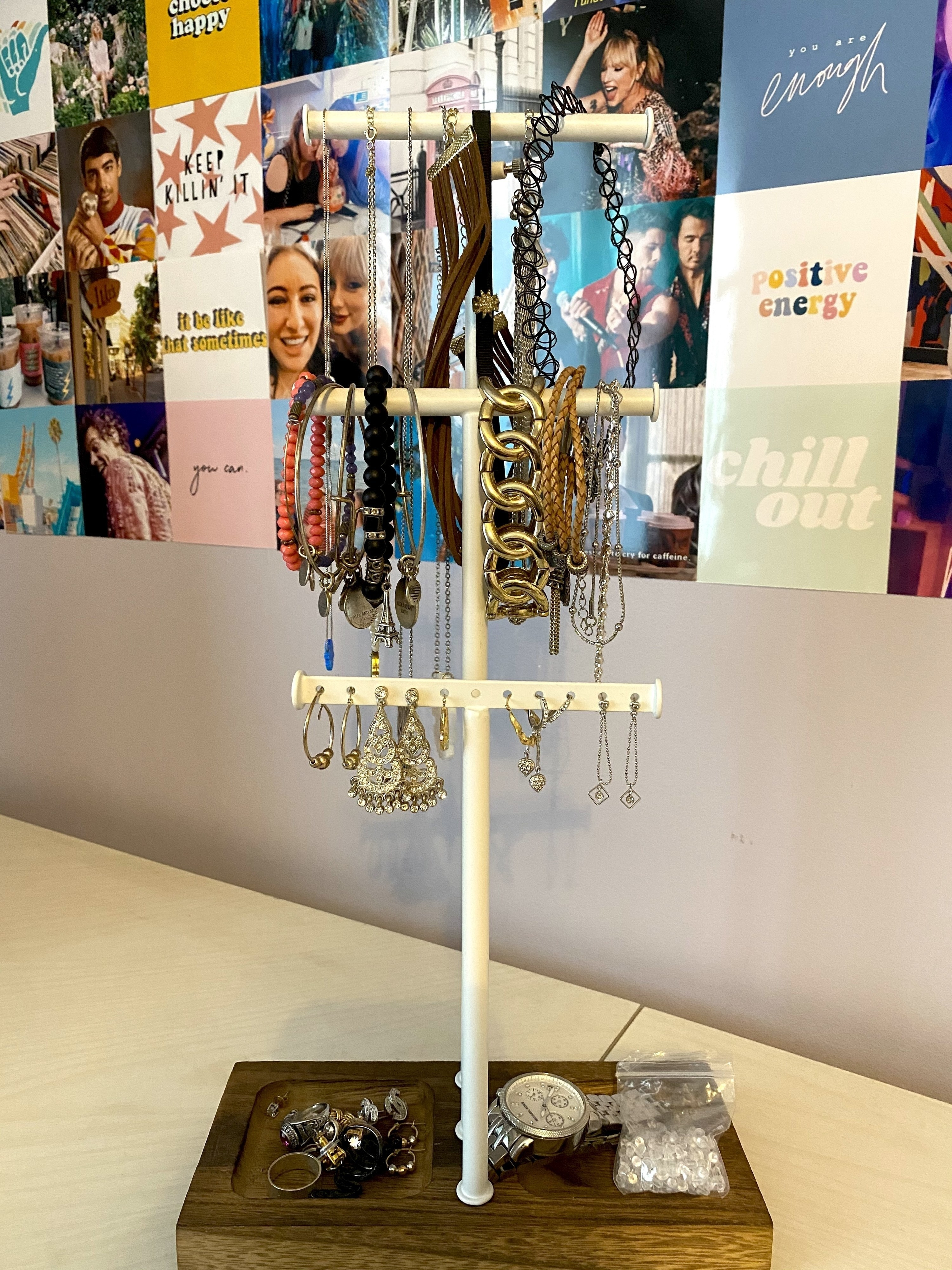 BuzzFeed Editor Samantha Wieder's jewelry tree holding necklaces, bracelets, and earrings