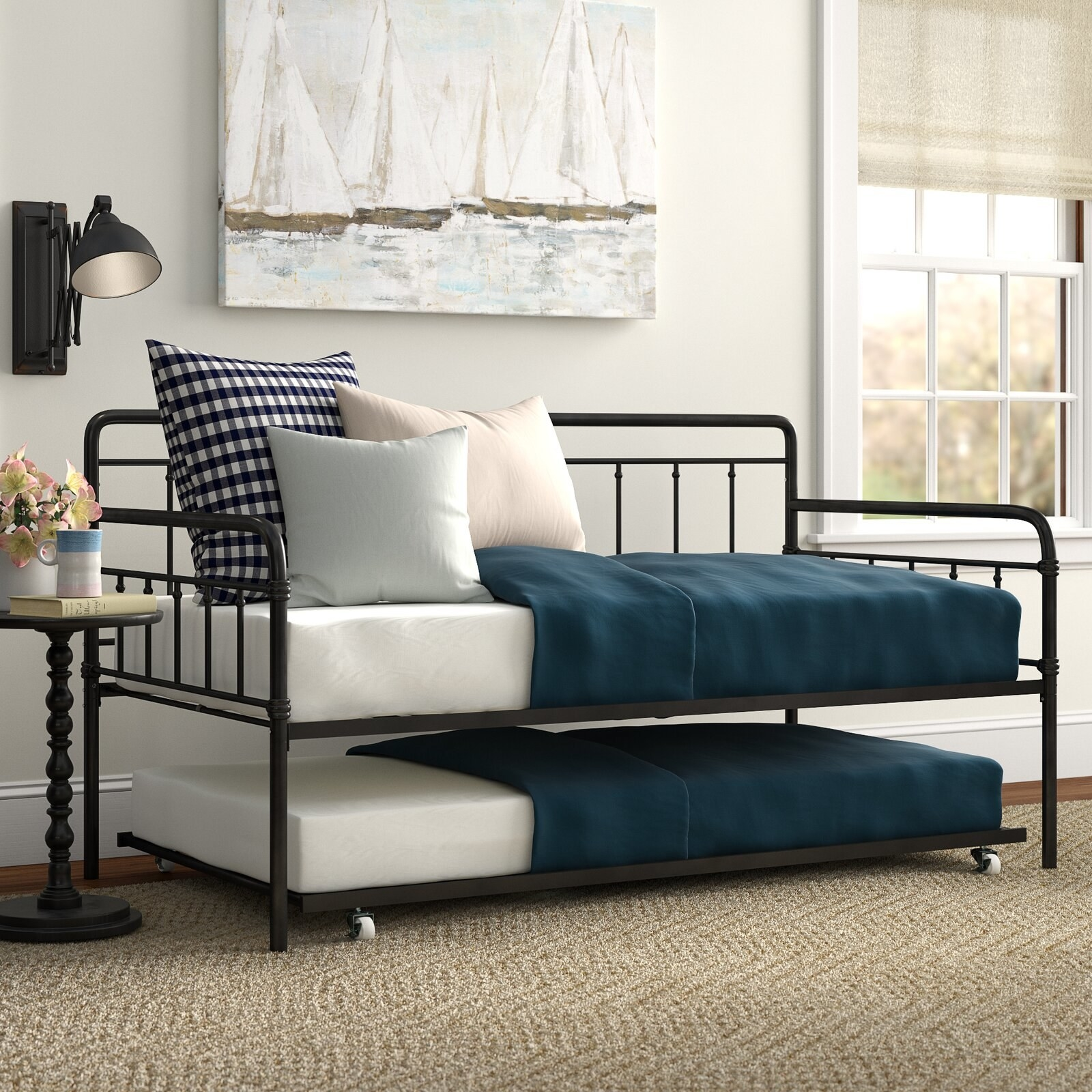 Wrought iron style daybed with trundle