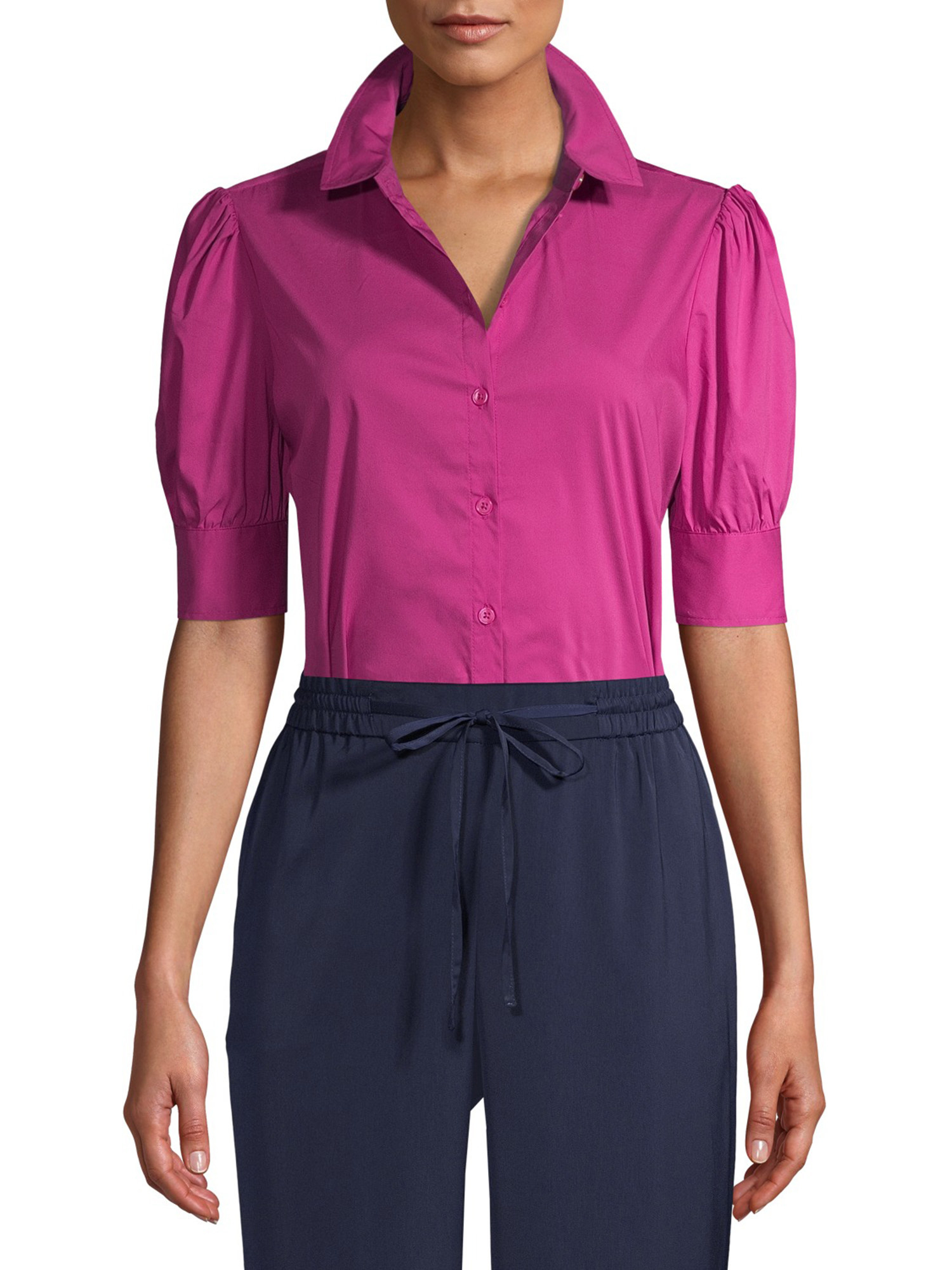 a pink button down with puffy sleeves