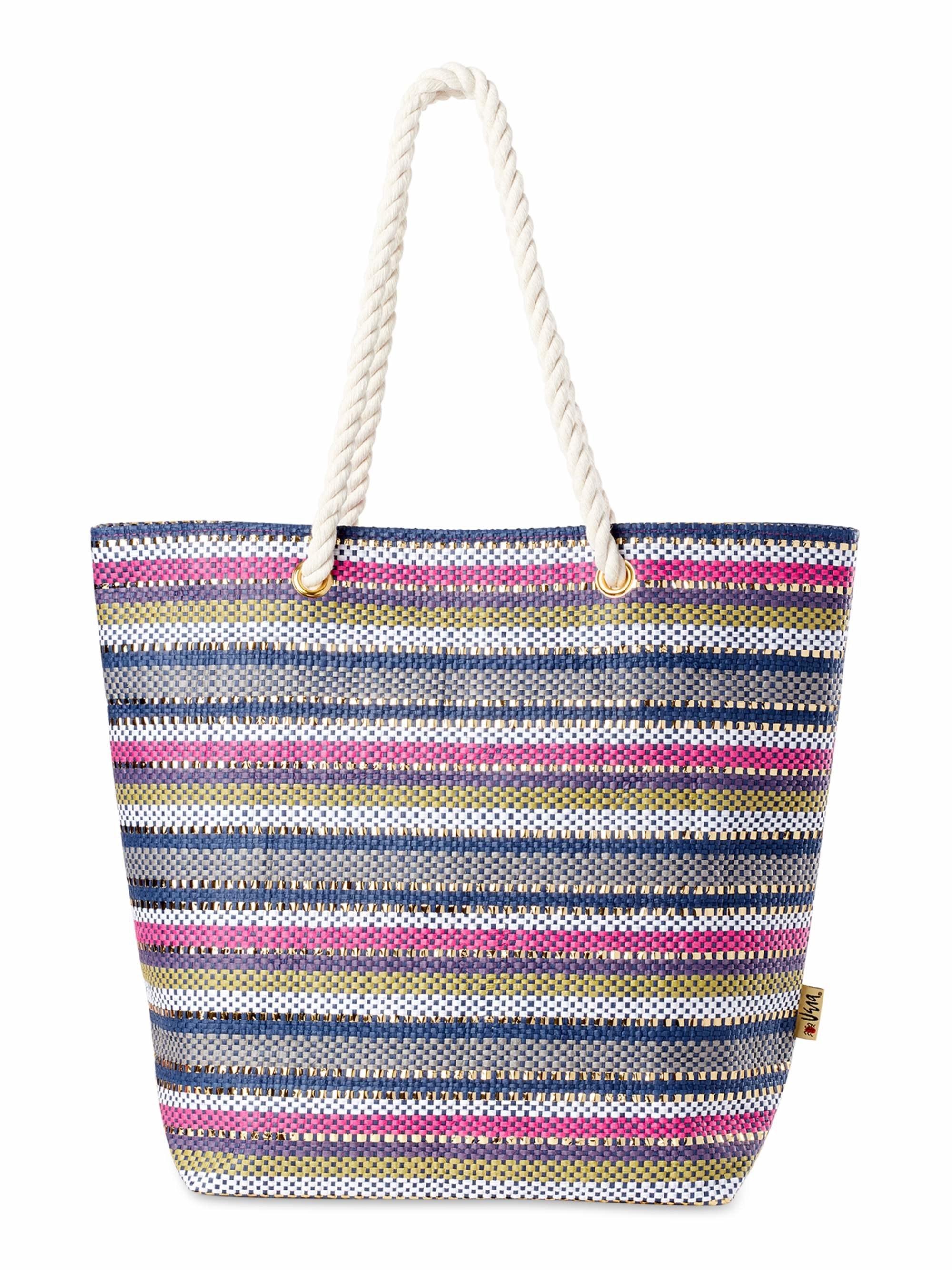 a woven tote bag with pink yellow blue white and grey stripes