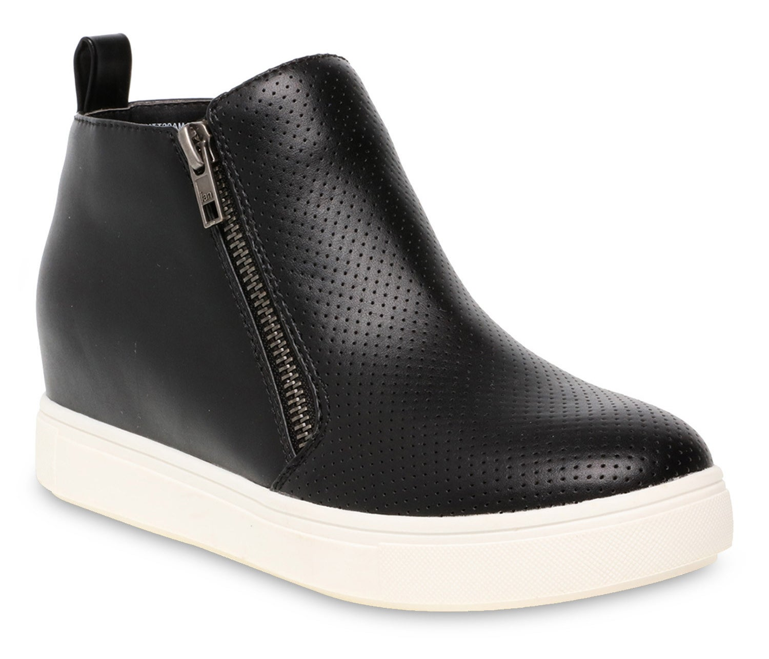black sneaker wedges with white bottoms and a side zipper