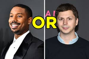 """On the right, Michael B. Jordan, and on the right, Michael Cera with """"or"""" typed in between the two images"""