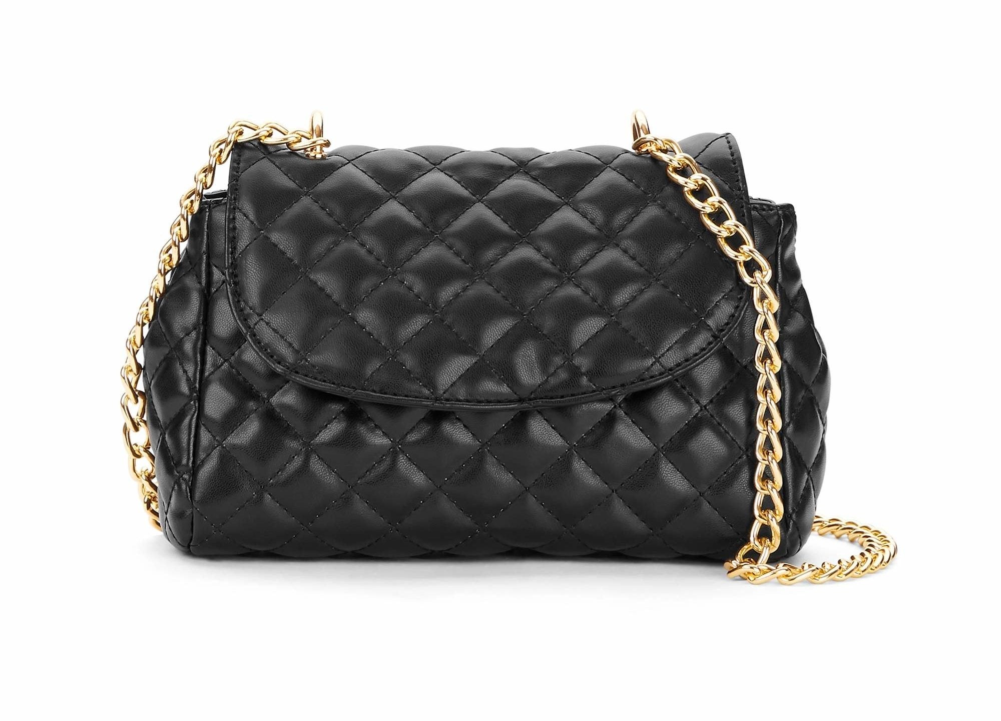 a black quilted bag with a fold over top and a gold chain