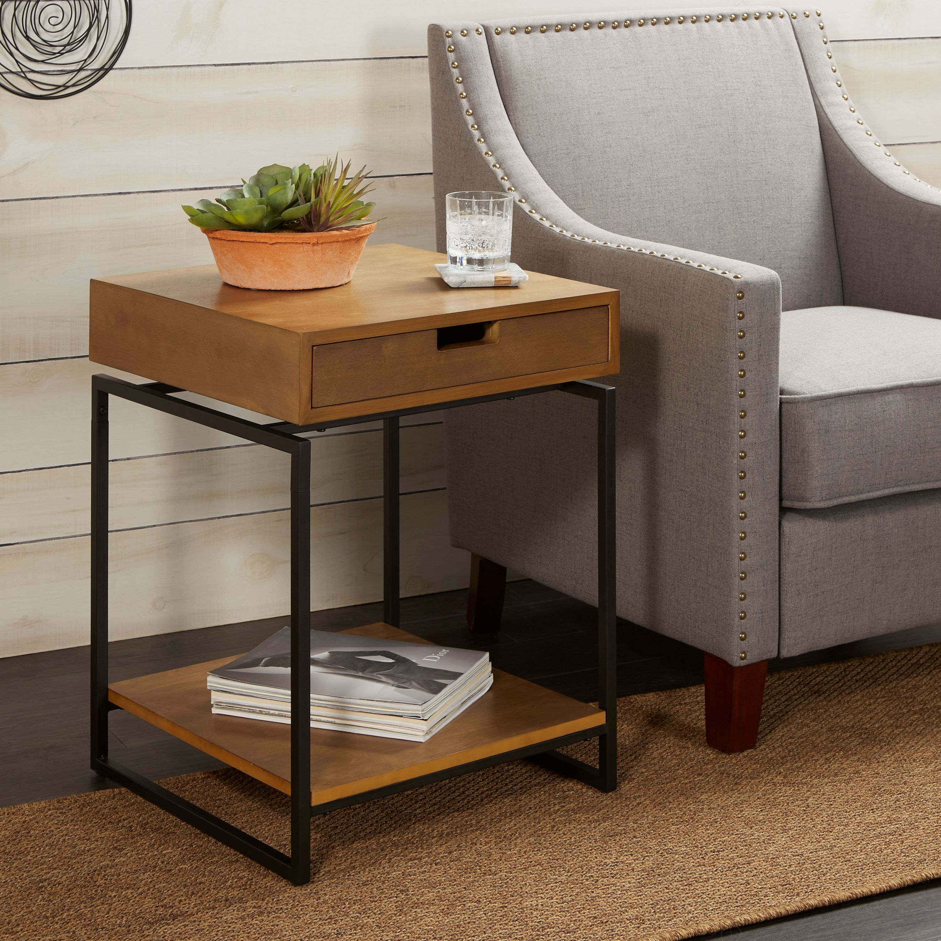 the wooden end table with black metal legs and a lower shelf