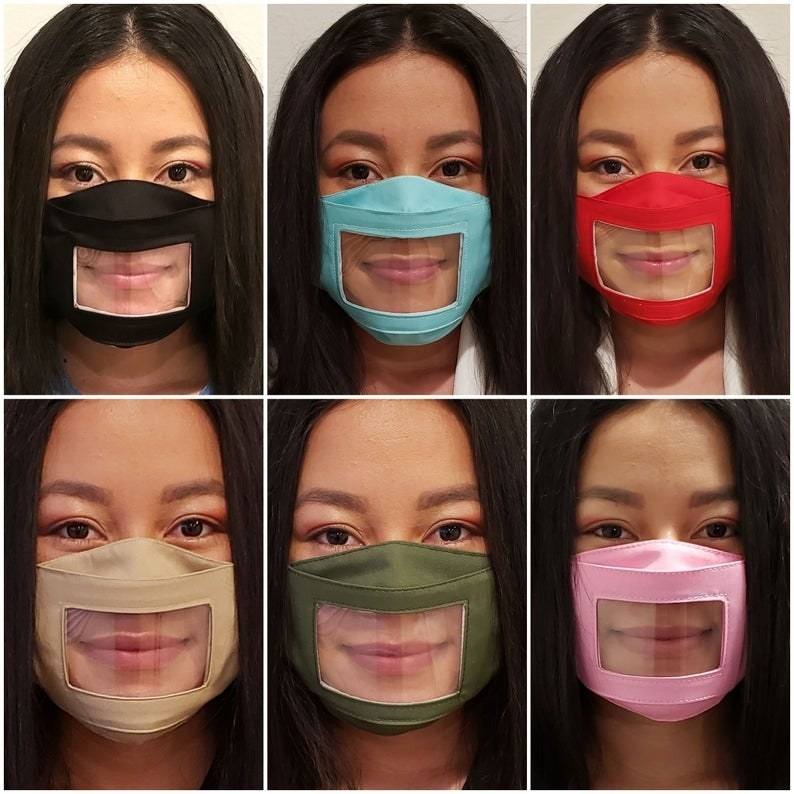 A photoset of a model wearing the mask in six different colors: black, light blue, red, tan, olive, and pink