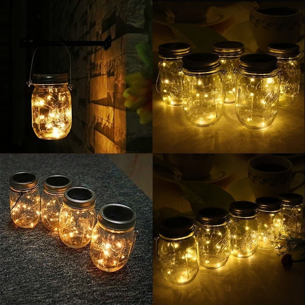 The mason jars full of fairy lights arranged in different ways, like hanging from a porch and set on the ground