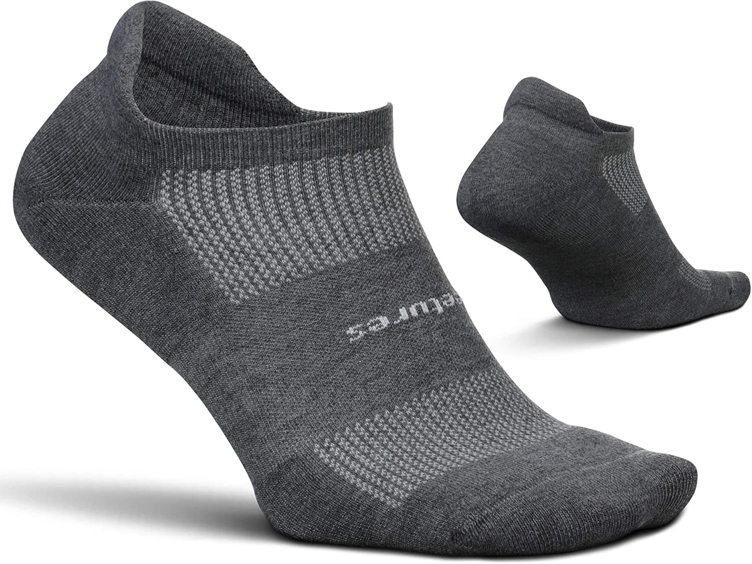 The socks in grey with a white stripe pattern across the top and a grey band around the middle