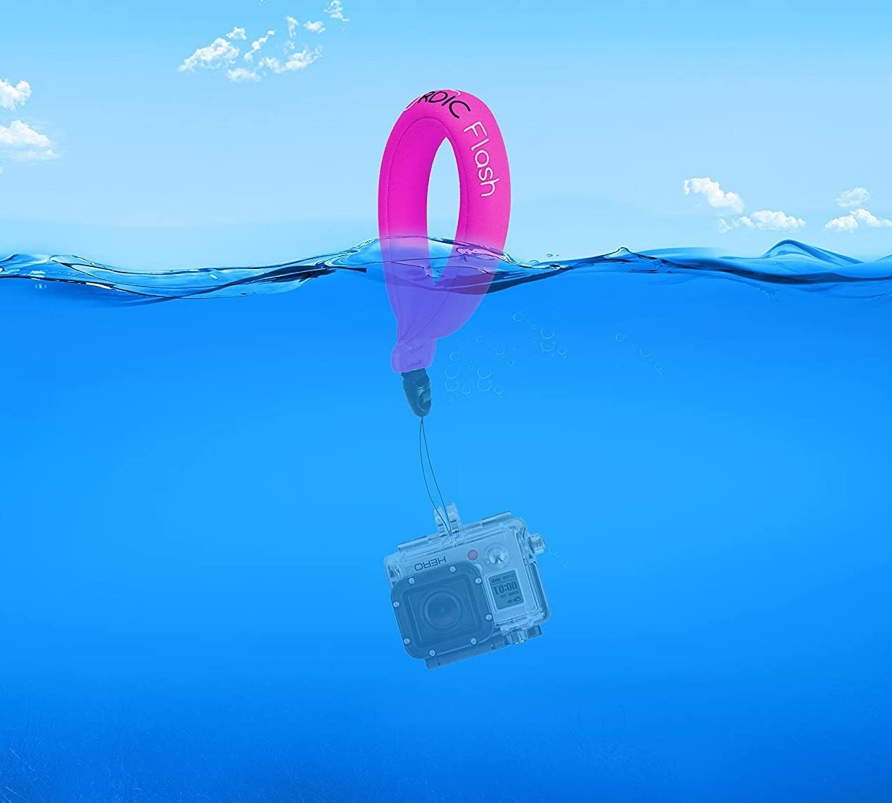 The strap is floating above water while the attached camera is seen beneath the surface