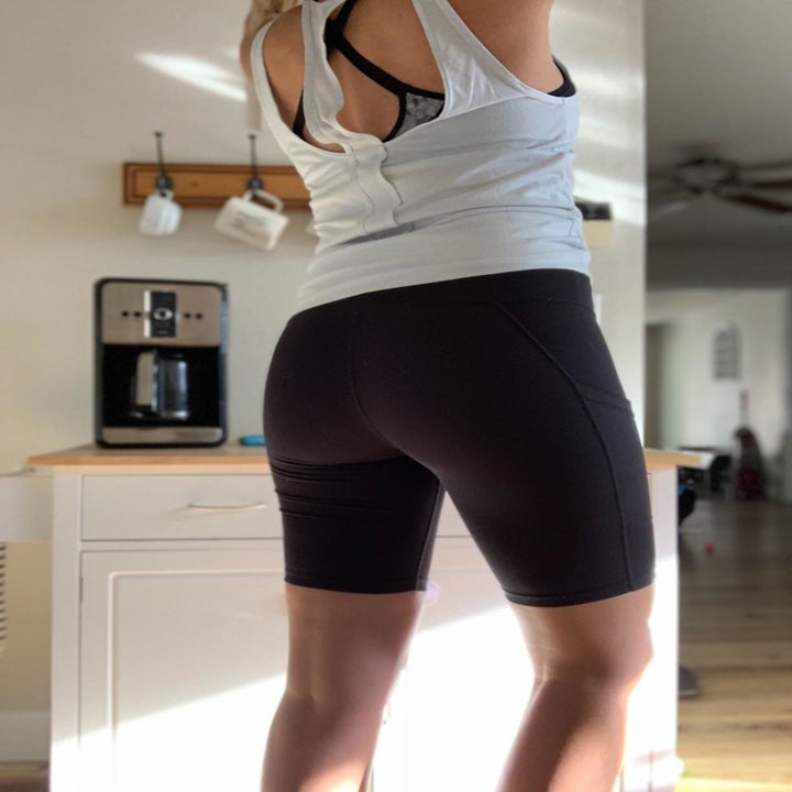 Back view of a reviewer wearing the shorts