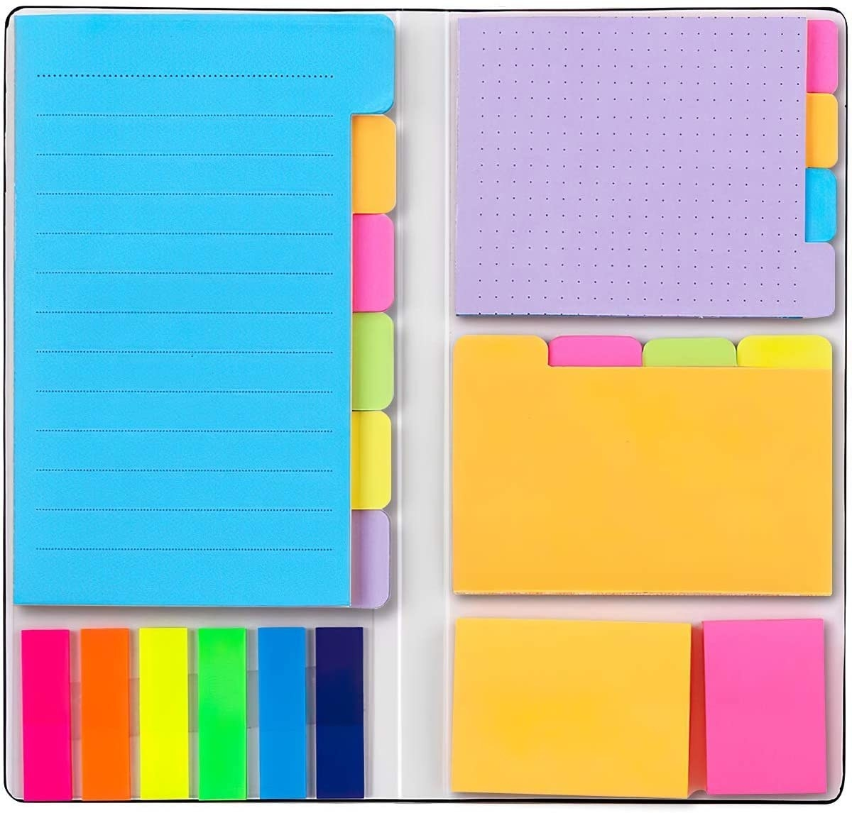 A set with multiple stacks of sticky notes in different sizes and colours