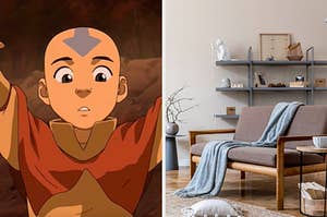 """On the left, Aang from """"Avatar: The Last Airbender,"""" and on the right, a simple living room with a couch covered with a throw blanket, a shelf with sculptures and picture frames, and a throw rug"""