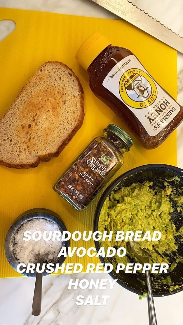 Kylie's ingredients: Sourdough bread, avocado, crushed red pepper, honey, salt