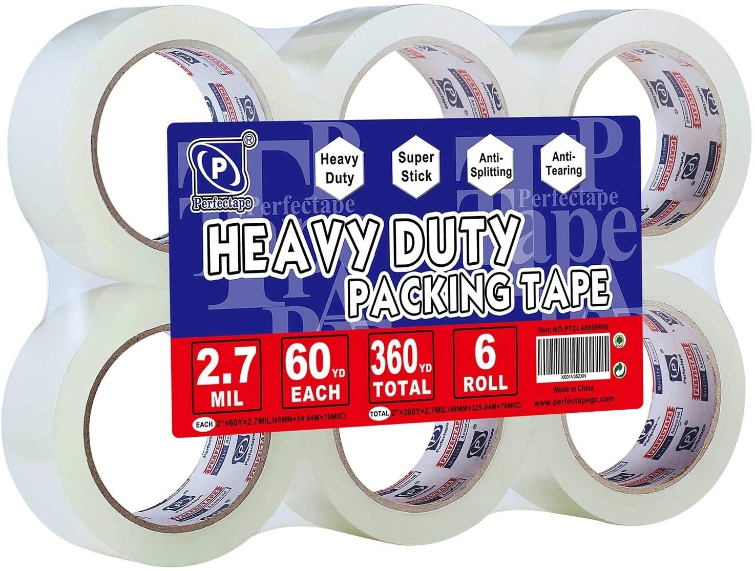 Six rolls of clear packing tape packaged together with a large blue and red label