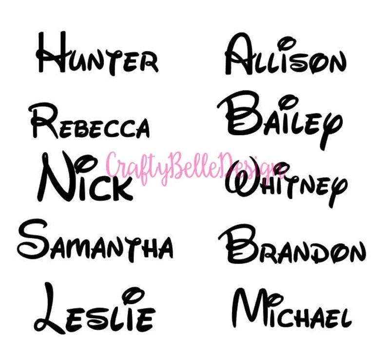 A mockup showing different names in Disney font