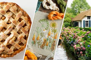 Three images: a homemade apple pie, floral embroidery, and a small house by water surrounded with flowers