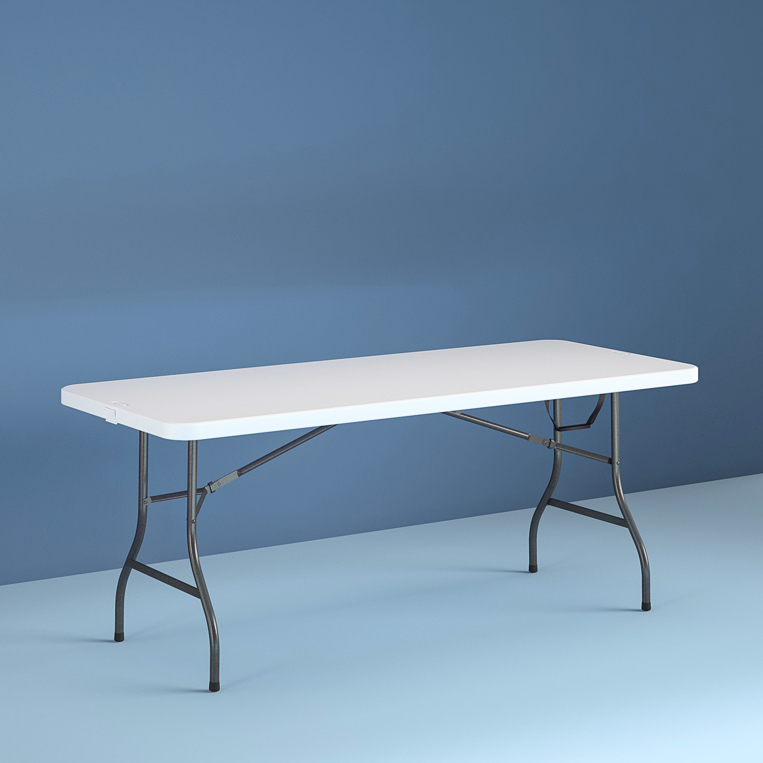a white folding table with metal legs