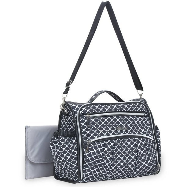 a diaper bag with a black and white scallop pattern on it and two front zippers