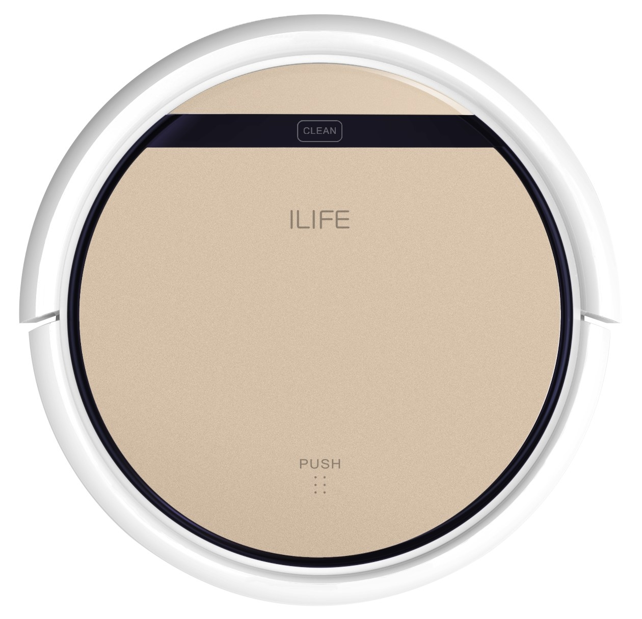 a gold and white rounded robot vacuum