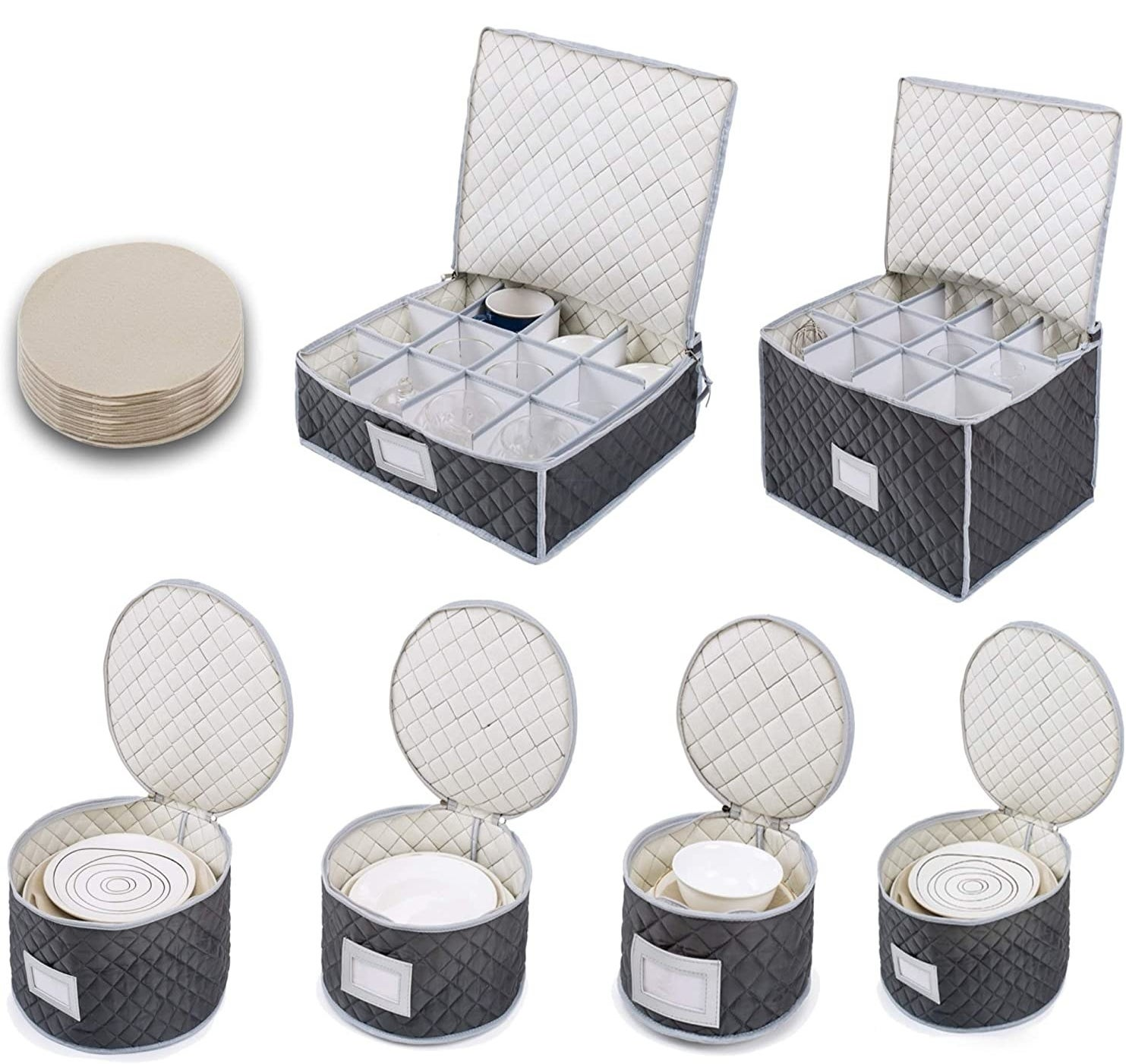 Round and square gray quilted boxes with zip-tops holding dishes and glasses