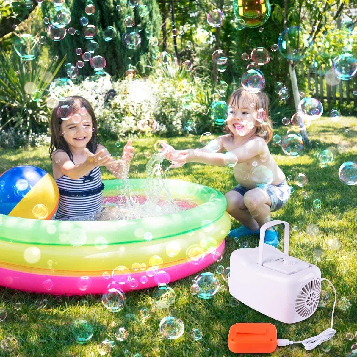 A bubble machine blowing bubbles at kids