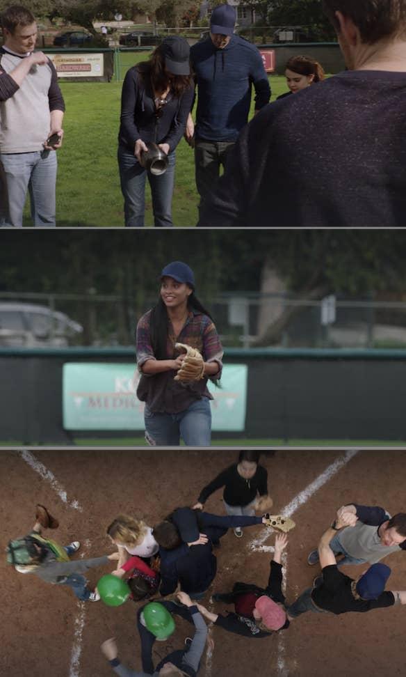 Braverman family playing baseball