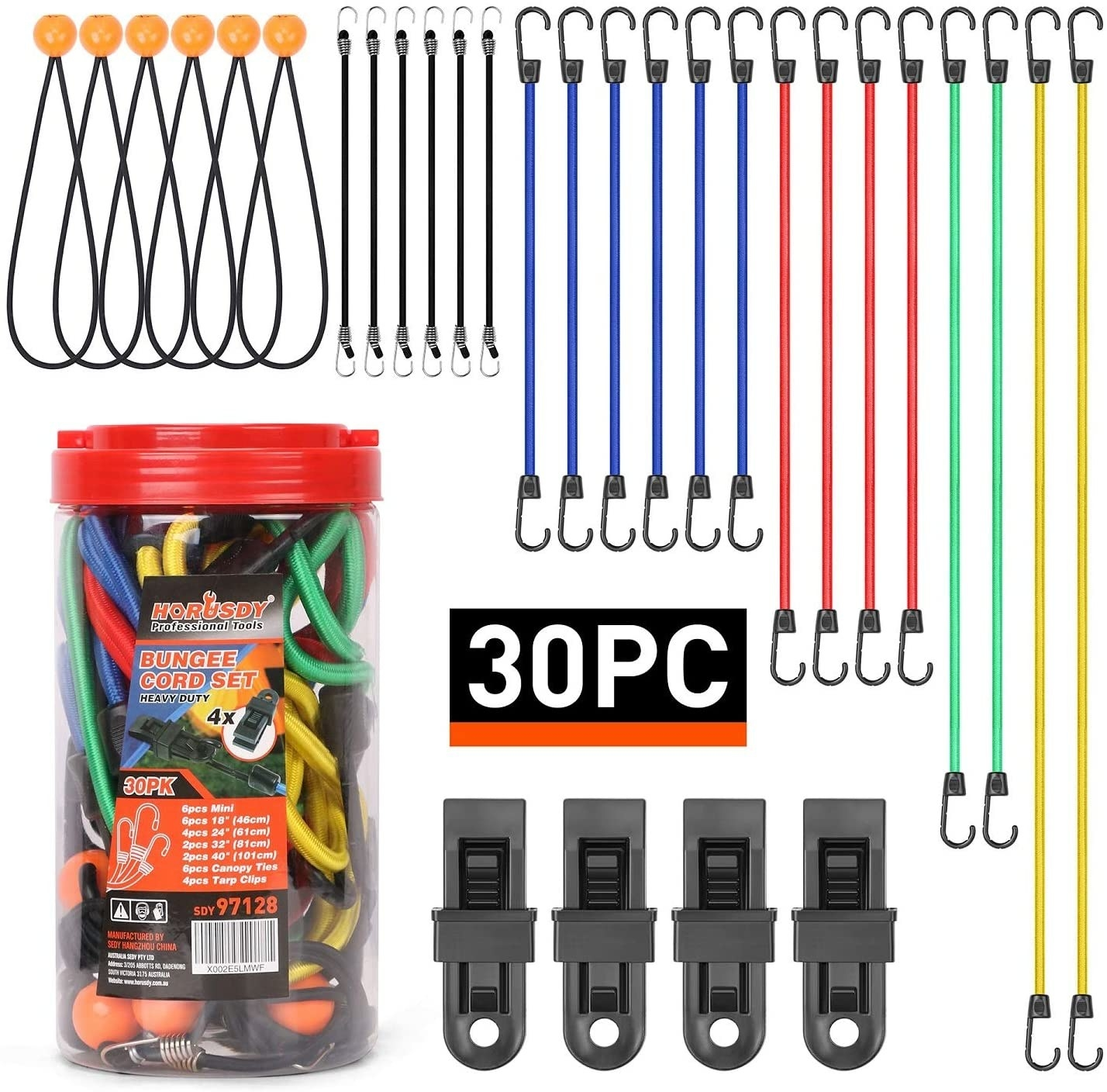 Multi-colored set of bungee cords, ball ties, and clips in as well as a clear round plastic container with red top