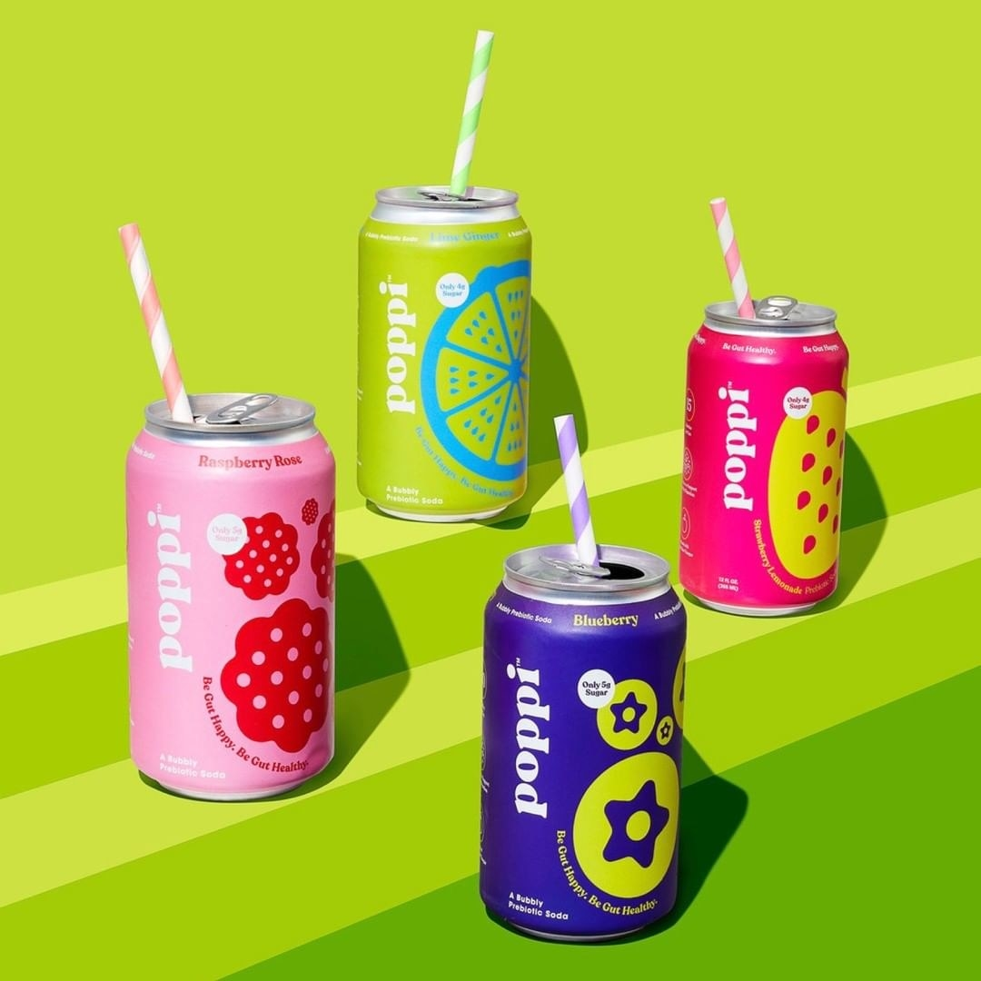 four cans of poppi soda