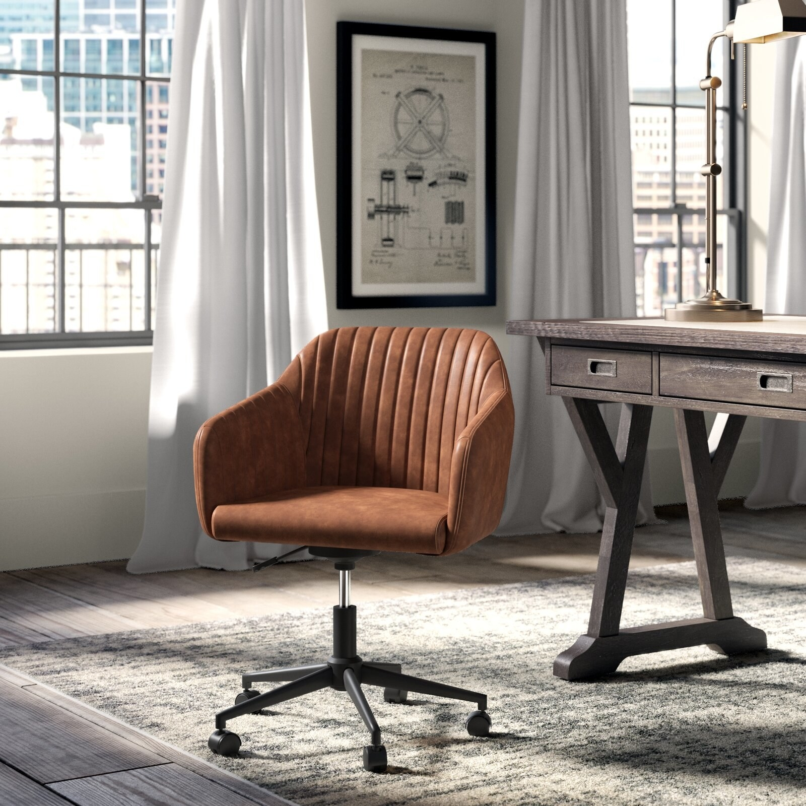 Rolling desk chair in brown upholstery