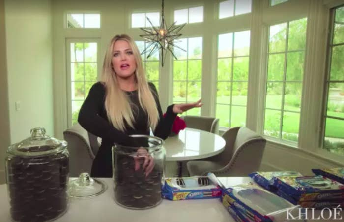 Khloe Kardashian in her home kitchen
