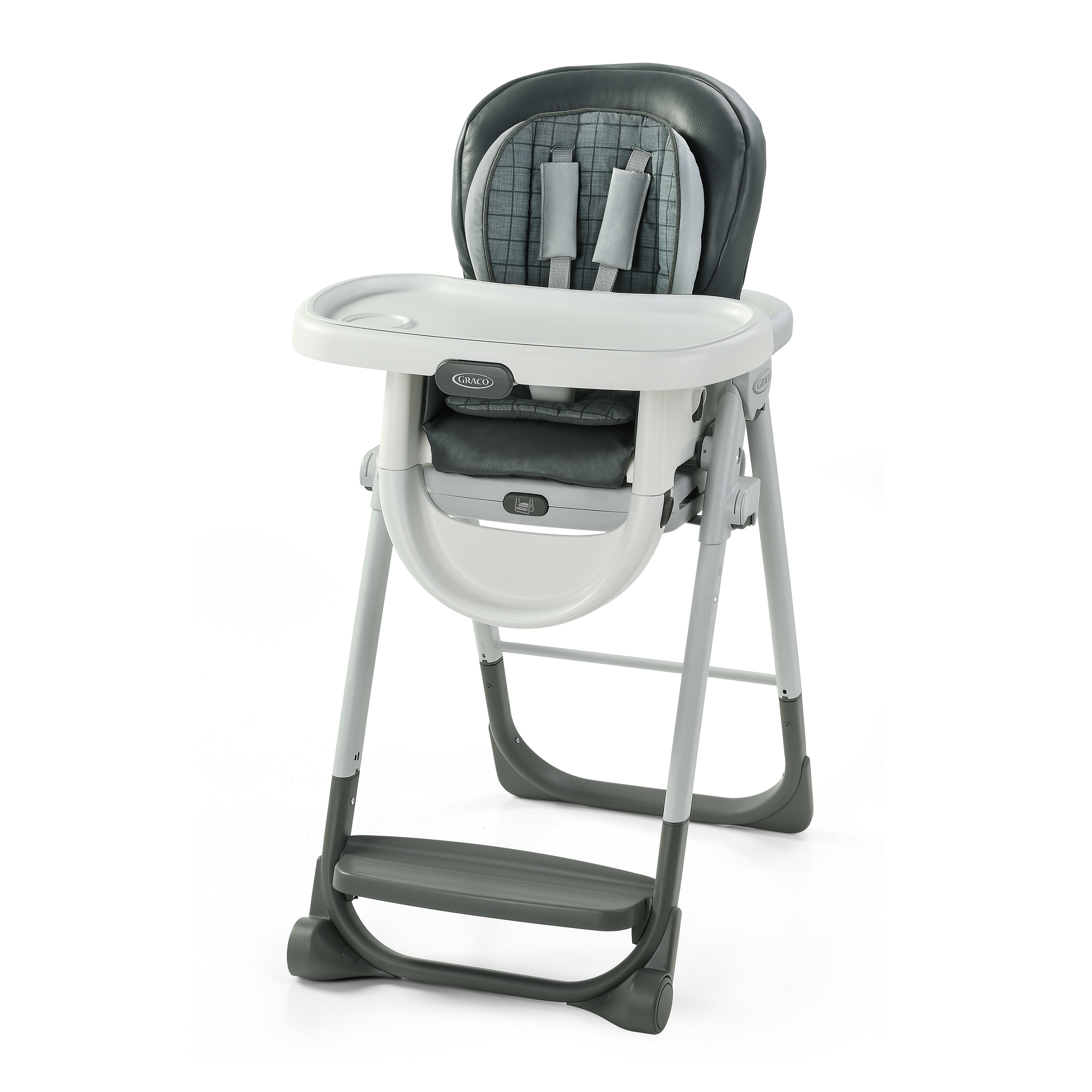 a grey and white high chair
